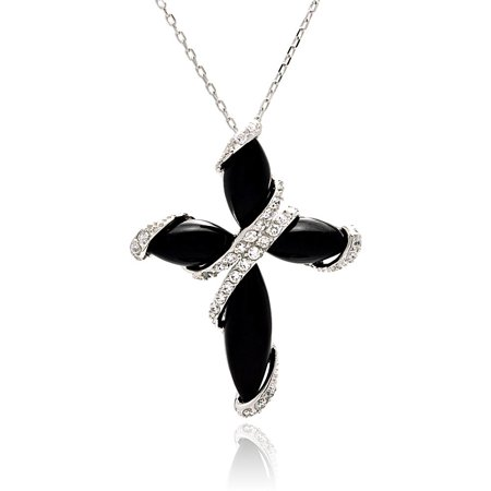 - .925 Sterling Silver Rhodium Plated Black Onyx Cross Cubic Zirconia Necklace 18 Inches