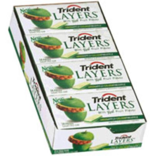 Trident Layers Sugar Free Gum Green Apple & Golden Pineapple 12 pack (14ct per pack) (Pack of 2)