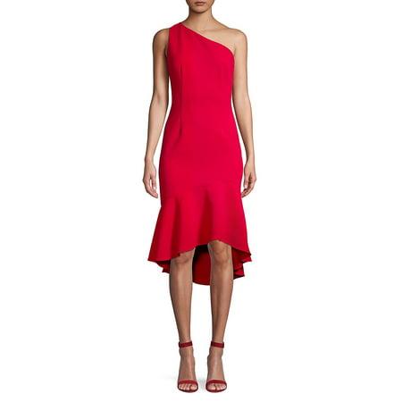 Ruffle-Trimmed One-Shoulder Sheath Dress