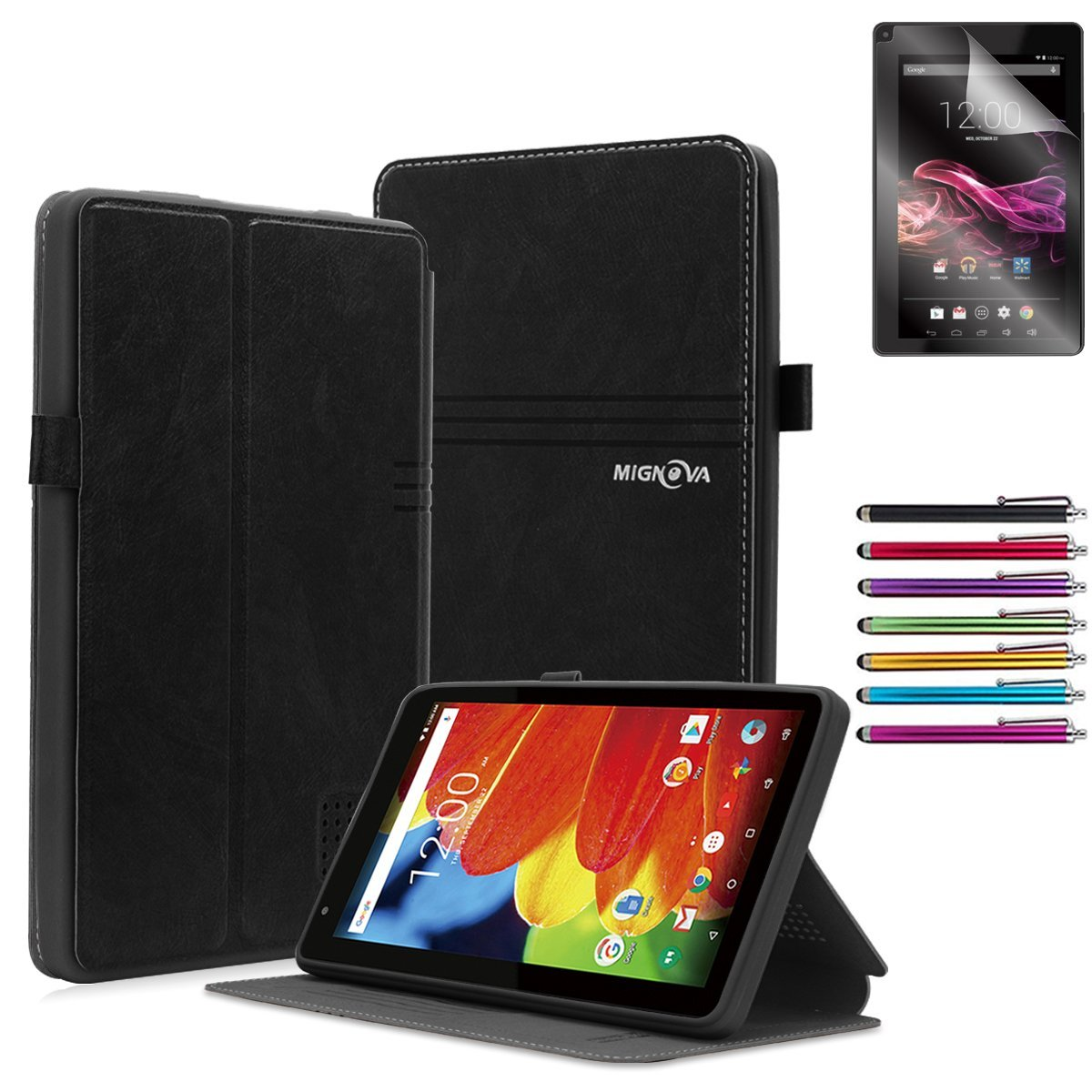 "Mignova RCA Voyager 7 Case, Folio leather case for RCA Voyager 7"" 16GB / 8 GB Tablet Android 6.0 (Marshmallow) + Stylus pen(Black)"