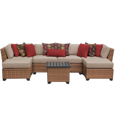 Tuscan 7 piece outdoor wicker patio furniture set 07a for Tuscany patio set walmart