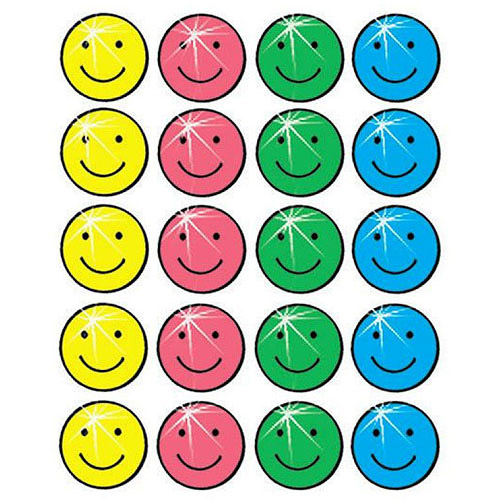 "School Smart Sparkle Smiles Self-Stick Stickers, 1"", Pack of 600"
