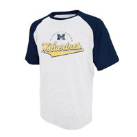 Men's Russell Athletic White Michigan Wolverines Big Athletic Fit Distressed T-Shirt