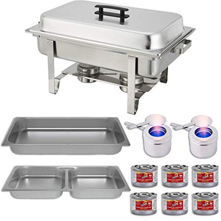 Chafing Dish Buffet Set w/Fuel — Divided pan (4qt x 2)+ Full Pan (8 qt) Water Pan + Frame + Fuel Holders + 6 Fuel Cans - Warmer kit (Pan Warmers)