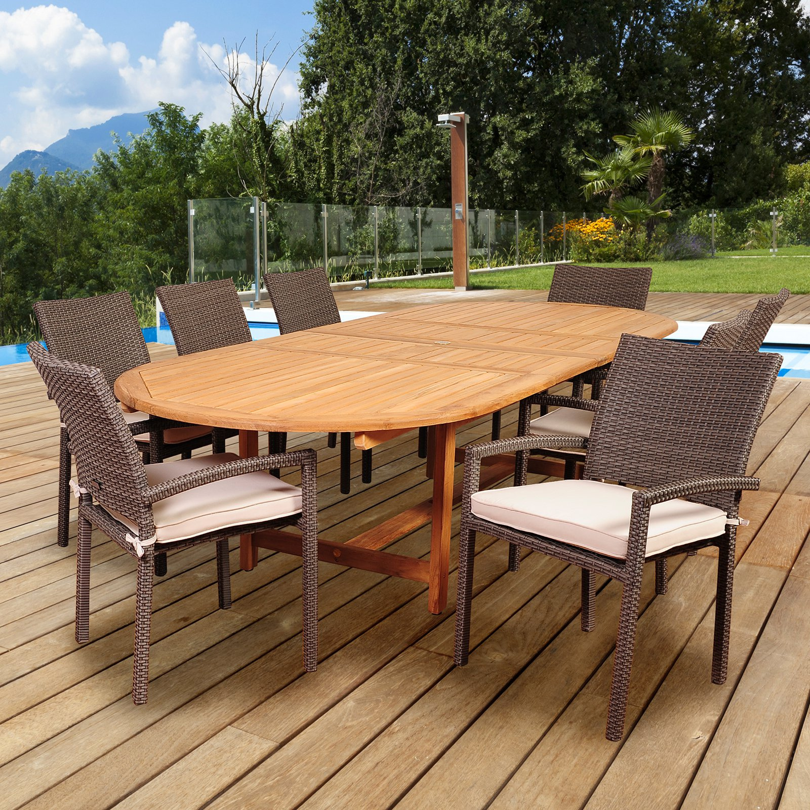 Amazonia Indianapolis 9 Piece Double Extendable Dining Set with Cushions
