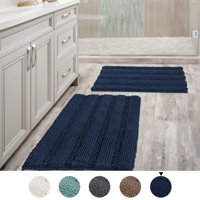 Bathroom Rugs Slip-Resistant Extra Absorbent Soft and Fluffy Thick Striped Bath Mat Non Slip Microfiber Shag Floor Mat Dry Fast Waterproof Bath Mat (1 Piece, Set of 2, or Runner)