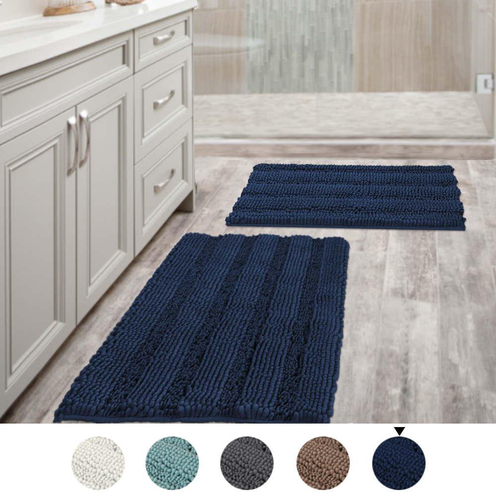 Navy Blue Bathroom Rugs Slip Resistant Extra Absorbent Soft And Fluffy  Thick Striped Bath Mat Non Slip Microfiber Shag Floor Mat Dry Fast  Waterproof Bath ...