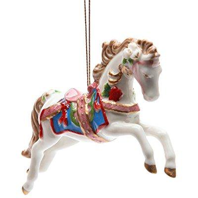 ... stealstreet ss-cg-10682 4.88 white painted carousel horse christmas  tree ornament - Stealstreet Ss-cg-10682 4.88 White Painted Carousel Horse Christmas