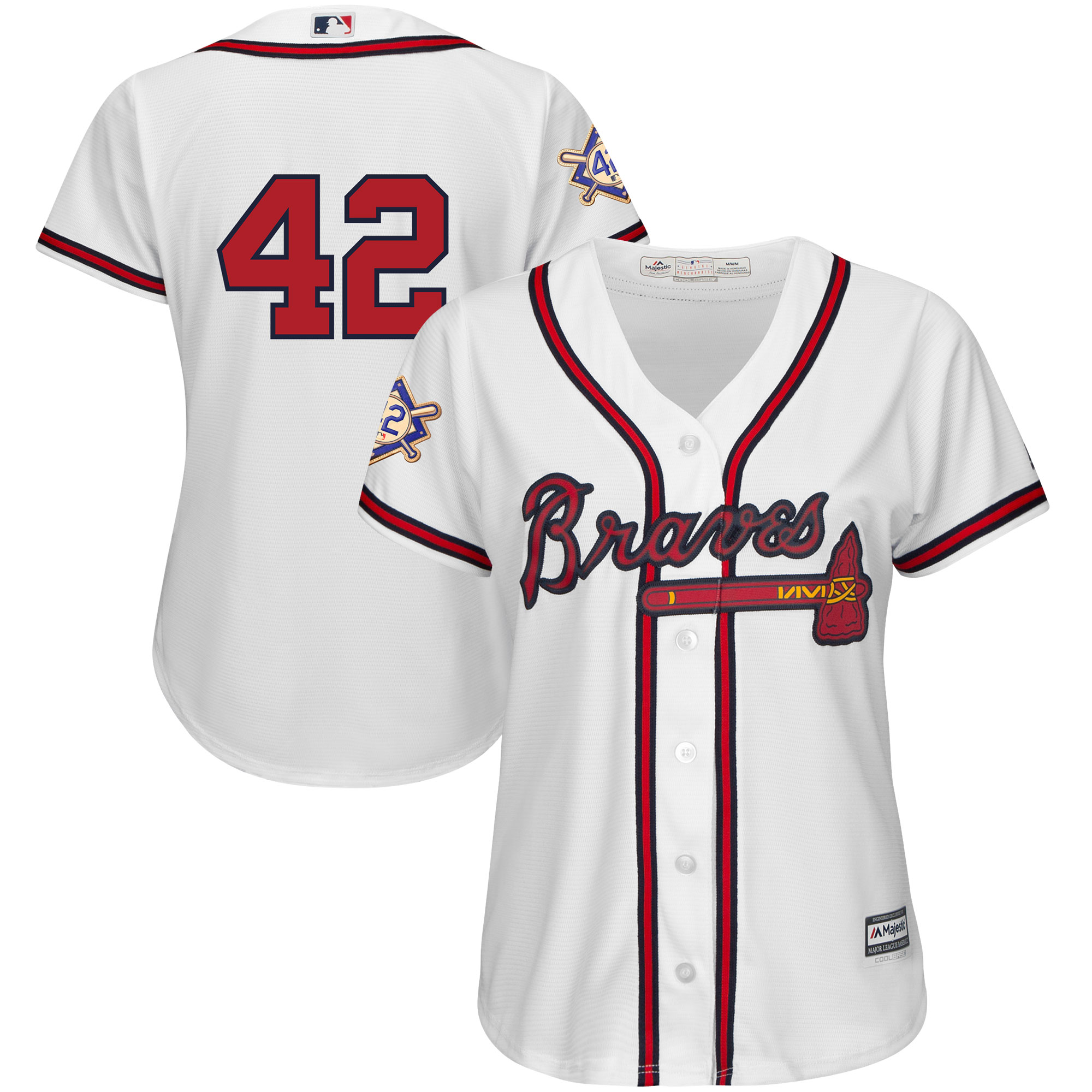 Atlanta Braves Majestic Women's 2019 Jackie Robinson Day Official Cool Base Jersey - White