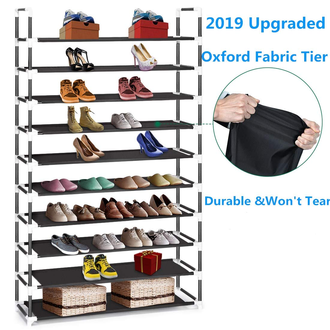 Oxford Fabric 10 Tiers Shoe Rack,Improved Heavy Duty 50 Pairs Shoe Organizer Storage Shelf, Standing Shoe Rack Supports 15lbs per Tier for Boots, Heels, Shoes Organization