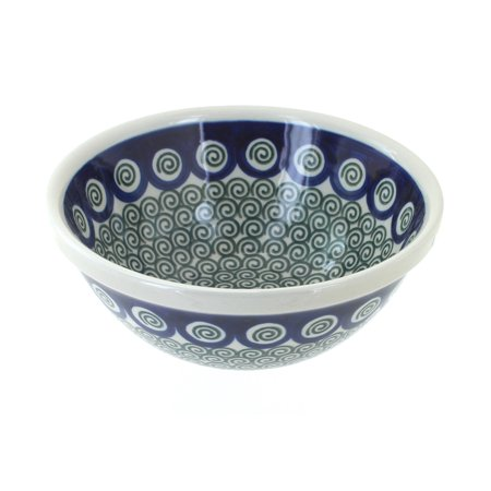 Polish Pottery Peacock Swirl Cereal/Soup Bowl