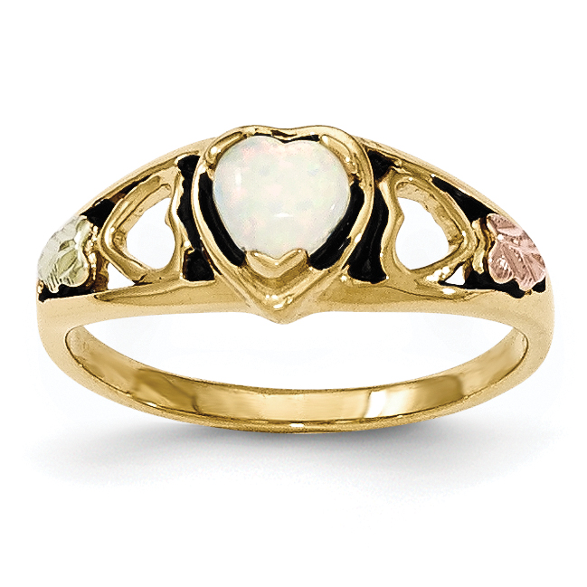 10k Tri-color Black Hills Gold Created Opal Heart Ring by Saris and Things QG
