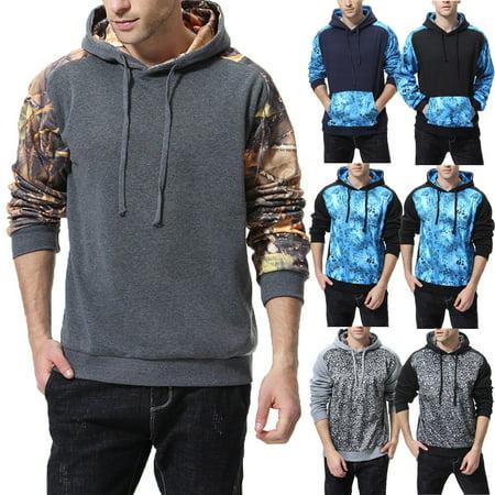 Mens Long Sleeve Warm Hoodie Hoody Casual Sweatshirt Jumper Jacket Coat Tops