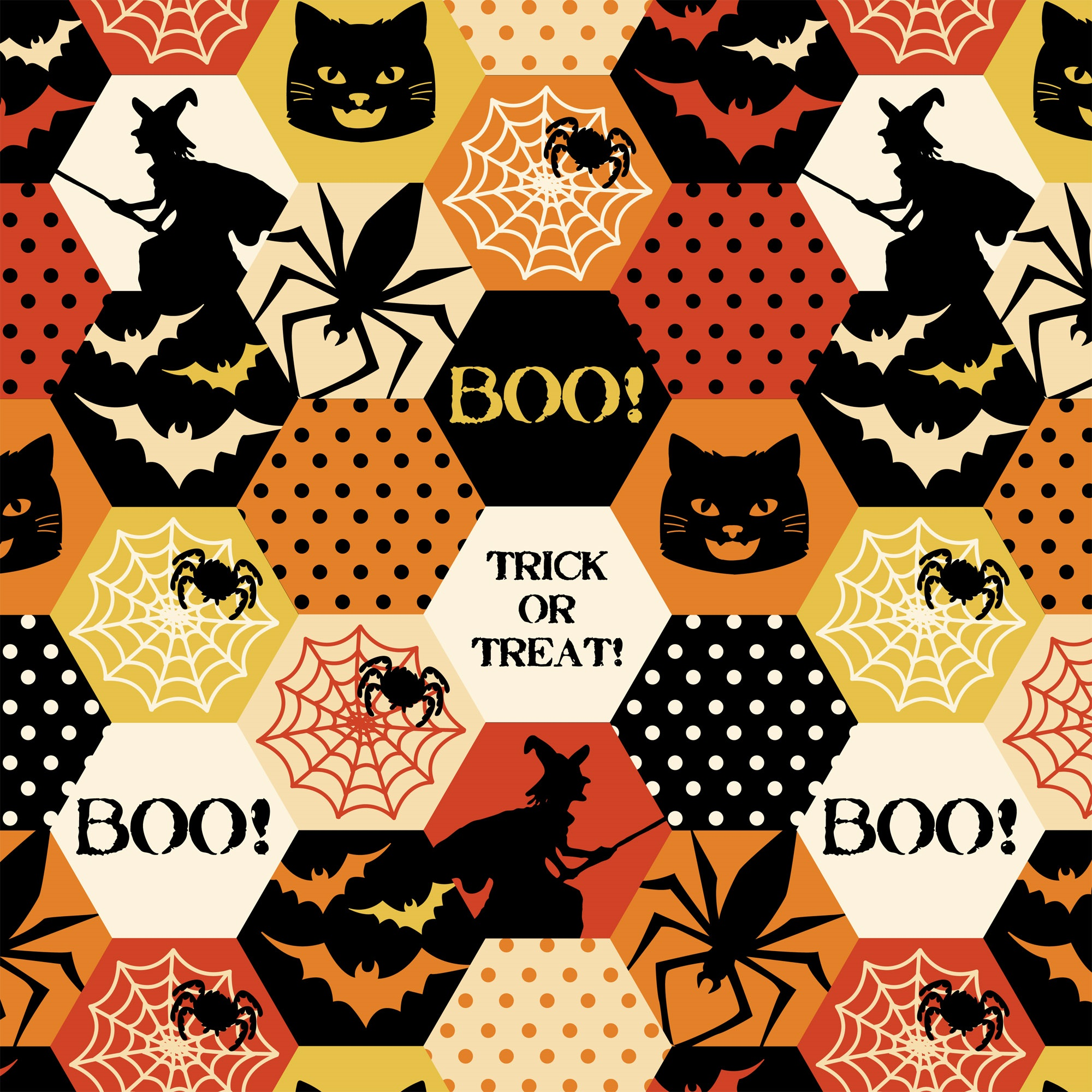 DAVID TEXTILES HALLOWEEN HEXAGONALS FABRIC BY THE YARD, 44 INCHES WIDE