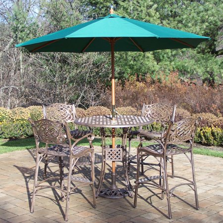 Oakland Living Elite Mississippi Cast Aluminum 42 In Patio Bar Set With Umbrella And Stand