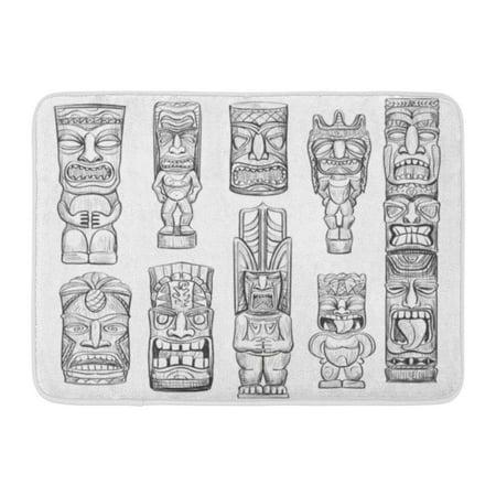 LADDKE Mask Collection of Sketches Hawaiian Tiki Idols Totem Tattoo Tahiti Doormat Floor Rug Bath Mat 23.6x15.7 inch