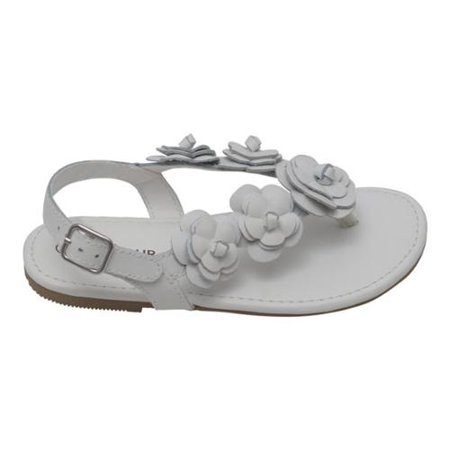 Buckle Thong (Girls White Flower Blossom Accent Buckle Thong Sandals 11-4 Kids )