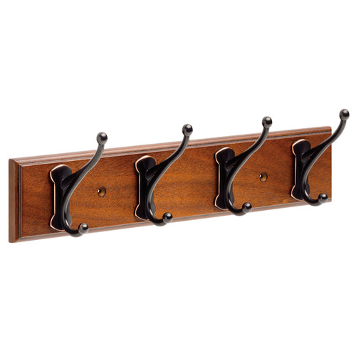 Franklin Brass 16 in. Rail with 4 Windom Hooks in Bark and Oil Rubbed Bronze