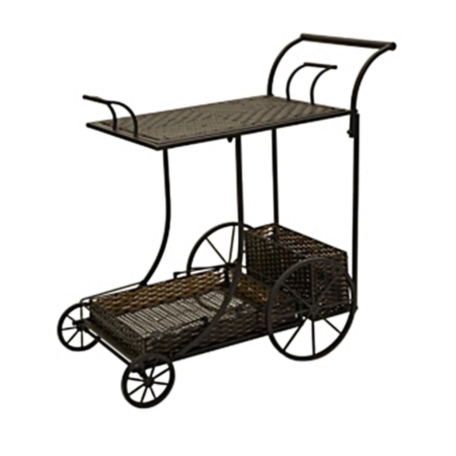 "36"" Carolyn Kinder Wrought Iron and Rattan Antique-Style Wine Serving Cart"