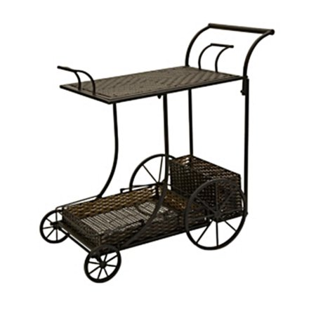 36 Carolyn Kinder Wrought Iron And Rattan Antique Style Wine Serving Cart