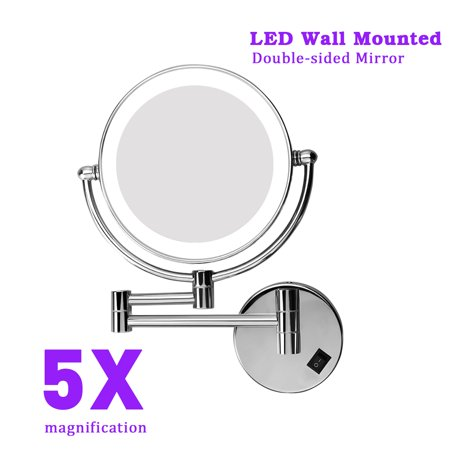8 Inch Lighted Wall Mount Makeup Mirror Two Sided Swivel With 5x