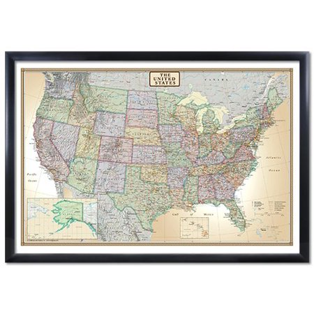 24X36 United States  Usa Us Executive Black Framed Wall Map