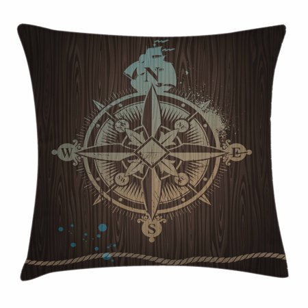 Inspired Rope (Compass Throw Pillow Cushion Cover, Boating Windrose with Ship Rope on a Wooden Background Marine Life Inspired Design, Decorative Square Accent Pillow Case, 16 X 16 Inches, Tan Brown, by Ambesonne)