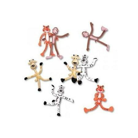 Dozen 'Fun Toys' Bendable Zoo Animals: Giraffes Tigers Monkeys and Zebras4