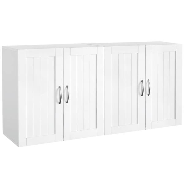 Topeakmart 2pcs Wall Cabinet Storage Organizer With Adjustable Shelf For Bathroom Medicine Kitchen Laundry White Walmart Com Walmart Com