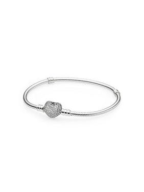 57b9abdf0 Product Image Silver Bracelet w/Heart Shaped-Clasp Pave Heart w/Clear CZ  Bracelet 17. PANDORA
