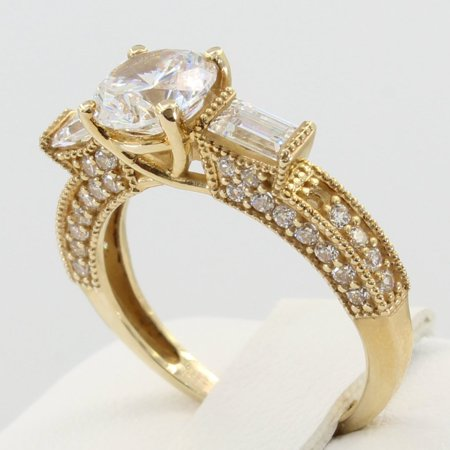 2.00 Ct 14K Real Yellow Gold Round Cut with Baguette & Round Bar Pave Set Side Stones 4 Prong Trellis Basket Setting Vintage Antique Style Engagement Wedding Propose Promise Ring Antique Style Engagement Ring Setting