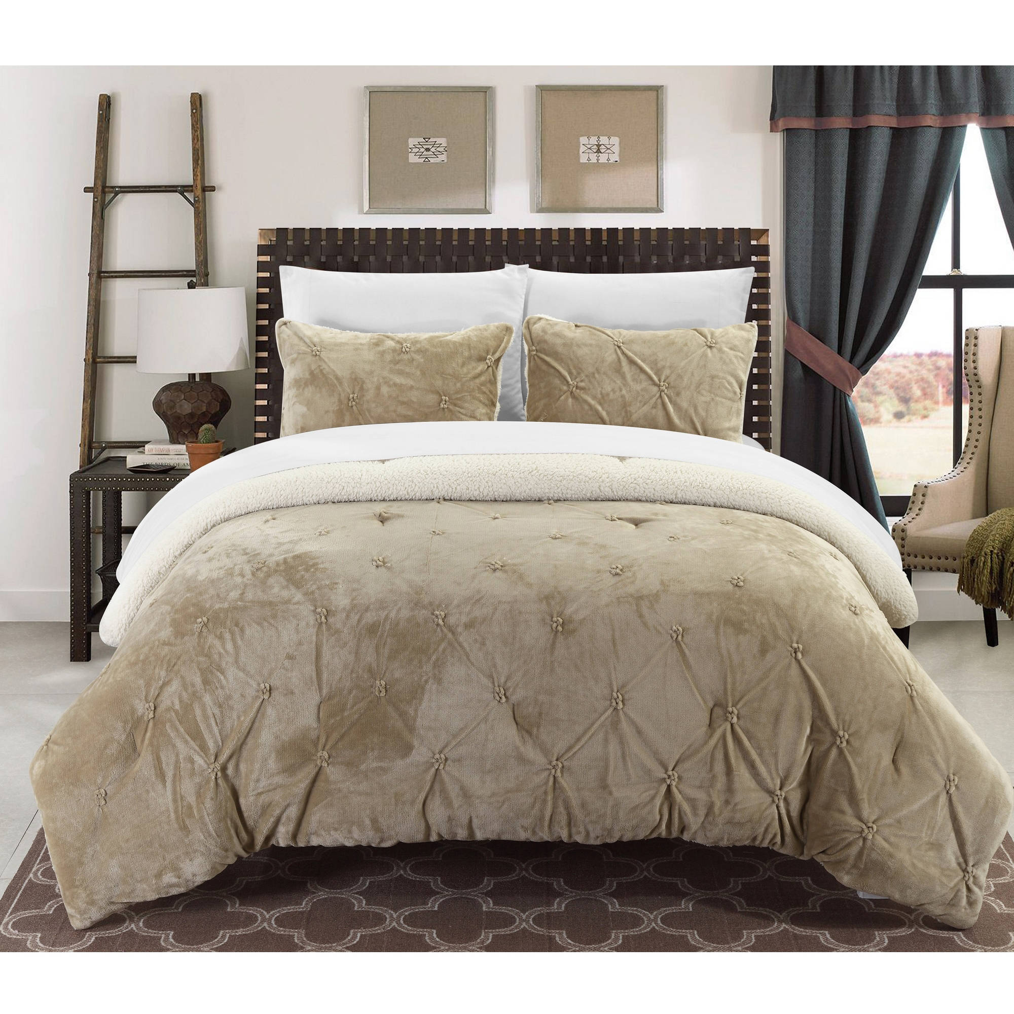 Chic Home Chiara 3-Piece Sherpa Lined Bed-in-a-Bag Comforter Set