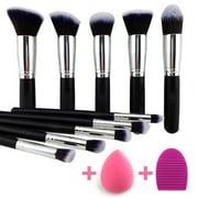 Professional Complete Makeup Brush Set Premium Synthetic Kabuki Foundation Face Powder Blush Eyeshadow Brushes Makeup Brush Kit with Blender Sponge and Brush Egg (10+2pcs,Black/Silver)
