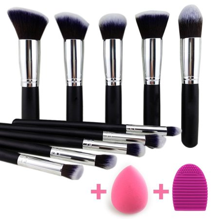 946a8c4858a1 Professional Complete Makeup Brush Set Premium Synthetic Kabuki Foundation  Face Powder Blush Eyeshadow Brushes Makeup Brush Kit with Blender Sponge ...