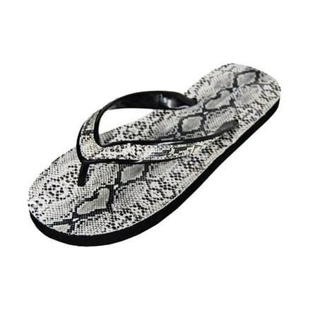 dc70b63e28ed Delicious - White Faux Snakeskin Flip Flops For Women - Walmart.com