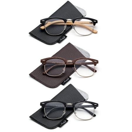 9d802fb1c960 Quality Fashion Clummaster Reading Glasses for Men Retro Vintage Reading  Glasses Horn Rimmed Half Frame Reading Glasses - Walmart.com