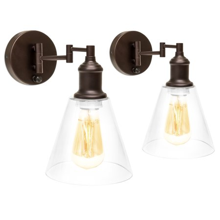 Bellacor Plastic Sconce - Best Choice Products Industrial Style Wall Sconces with Metal Swing Arm, Set of 2