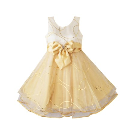 Girls Dress Champagne Multi-layers Wedding Pageant Kids Clothes 2-3 - Dress Kids Girl