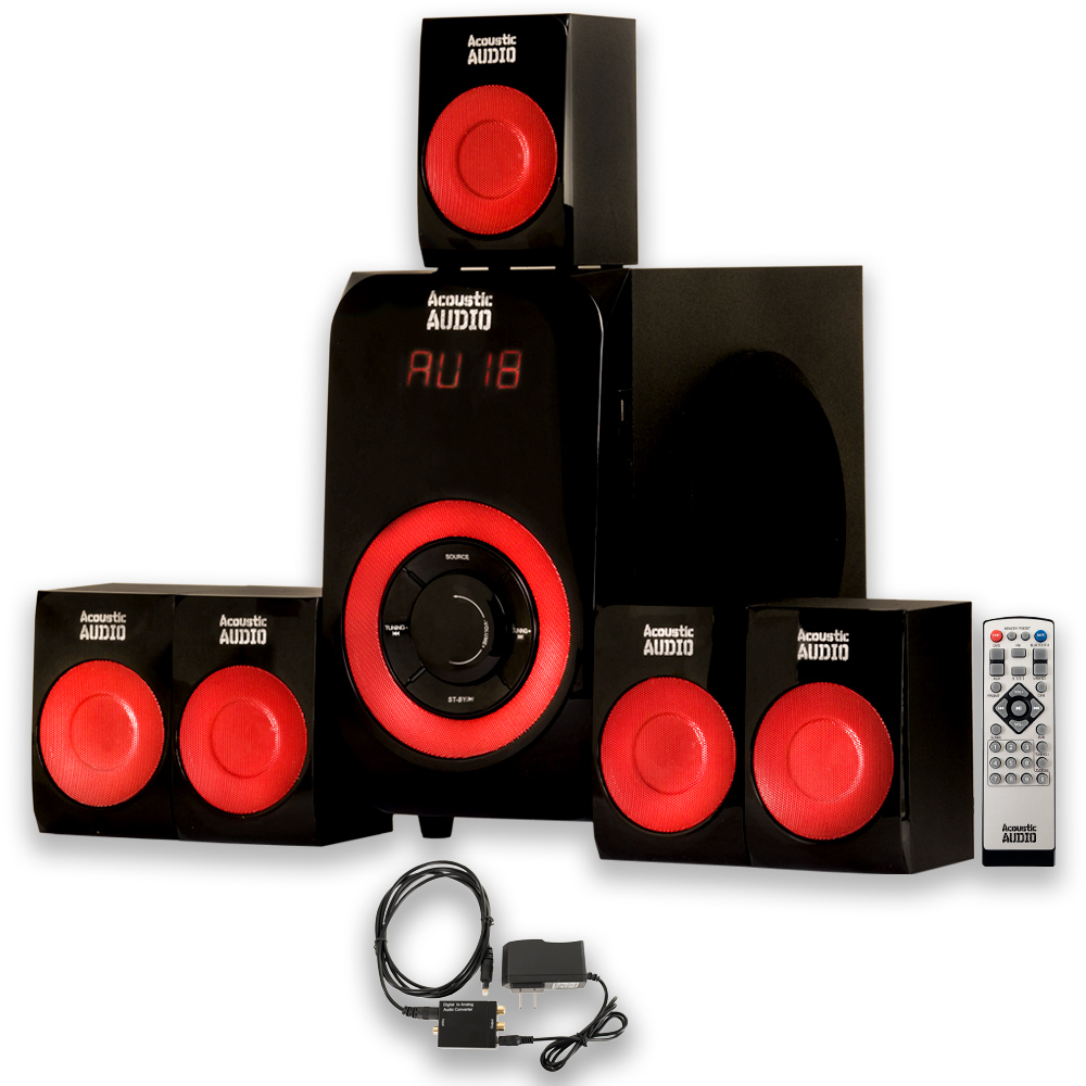 Acoustic Audio AA5180 Home Theater 5.1 Bluetooth Speaker System with USB and Optical Input