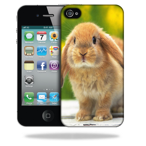 MightySkins Snap-On Protective Hard Case Cover for Apple iPhone 4 Rabbit