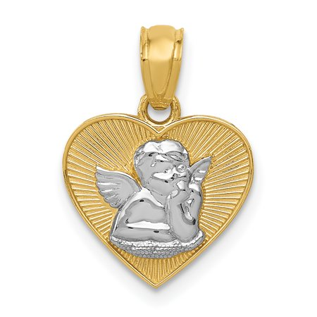 14k Yellow Gold Guardian Angel In Heart Pendant Charm Necklace Holiday for $<!---->