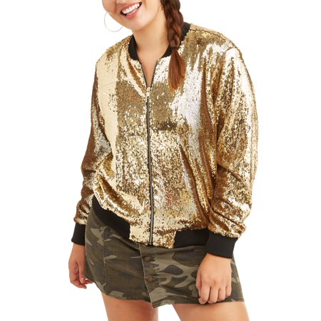 fad209ecb81 Paper Tee - Paper Tee Juniors  Plus Metallic Sequin Bomber Jacket ...