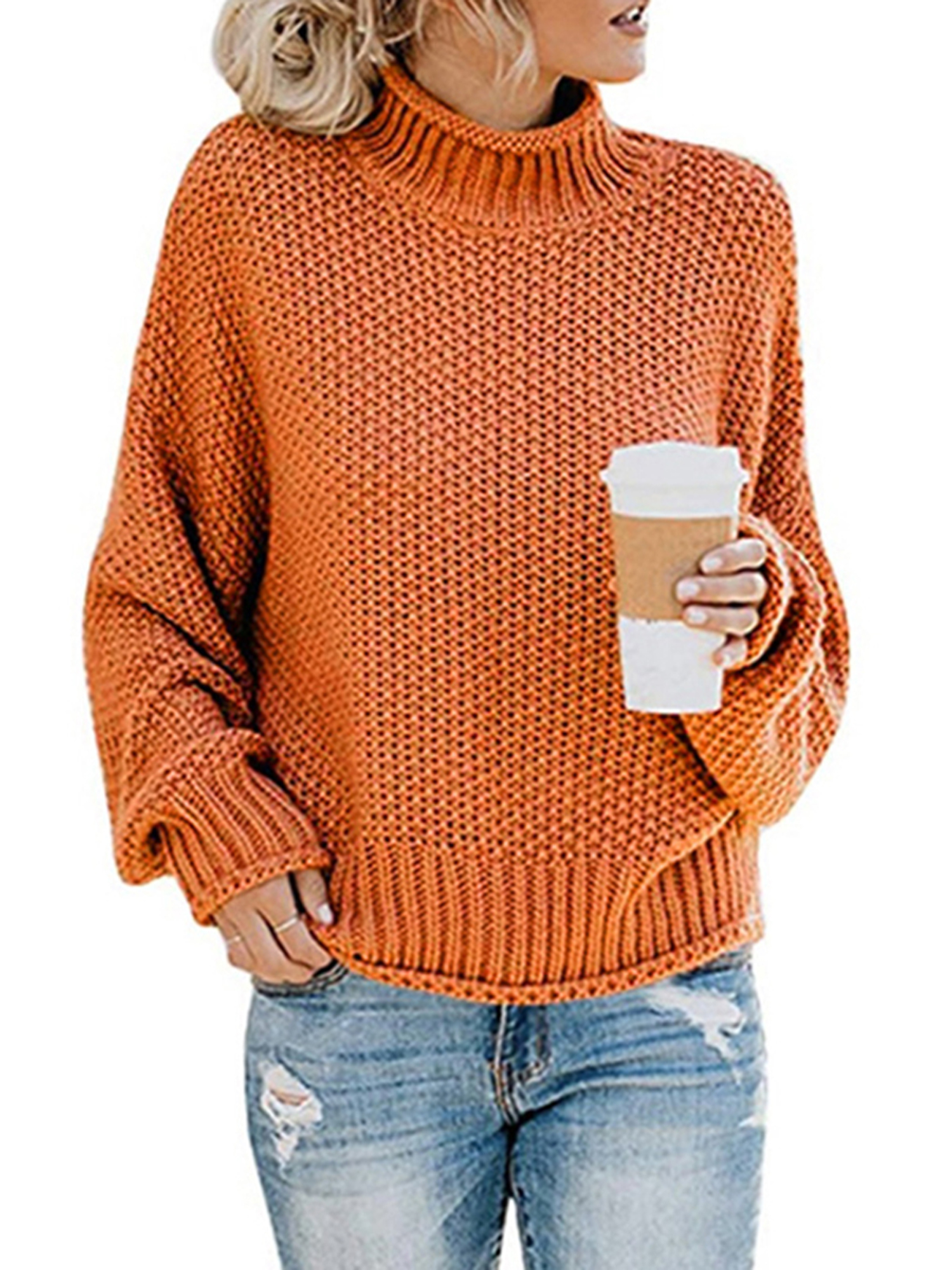Aworth Sweaters Warm Pullover Women Knitted Sweater V-Neck Long Sleeve Loose Sweater Knitted