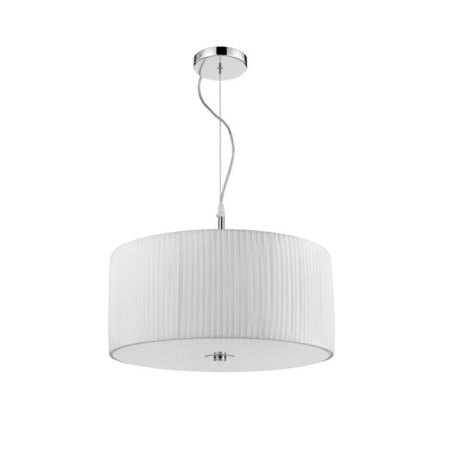 Golden Lighting Solal 3 Light Pendant in Chrome with White Pleated Fabric Shade