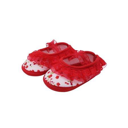 Babula Baby Girls Lace Flower Soft Sole Crib Princess Shoes 0-18M