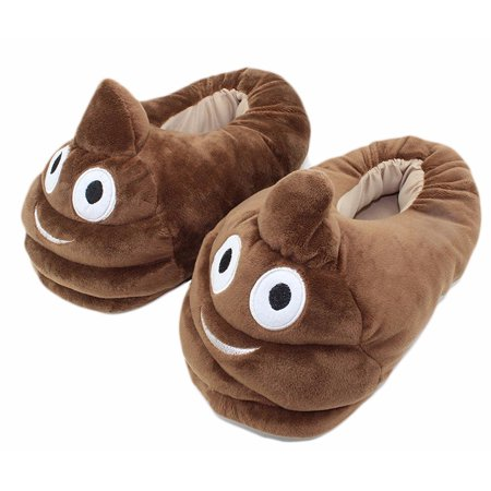 Cute Poop Emoji Slippers Plush Cotton Comfortable Indoor Bedroom Shoe (One Size) New