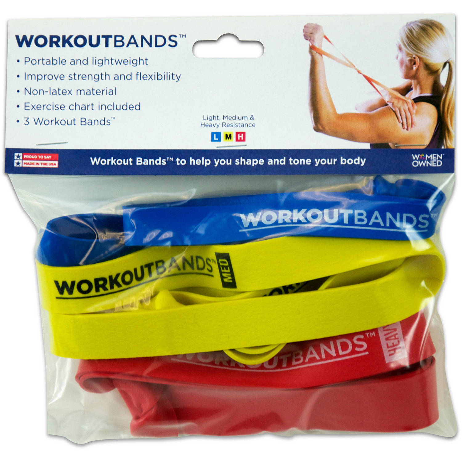 Alliance Workout Bands for Resistance Exercises, Light/Medium/Heavy Resistance 3-Pack