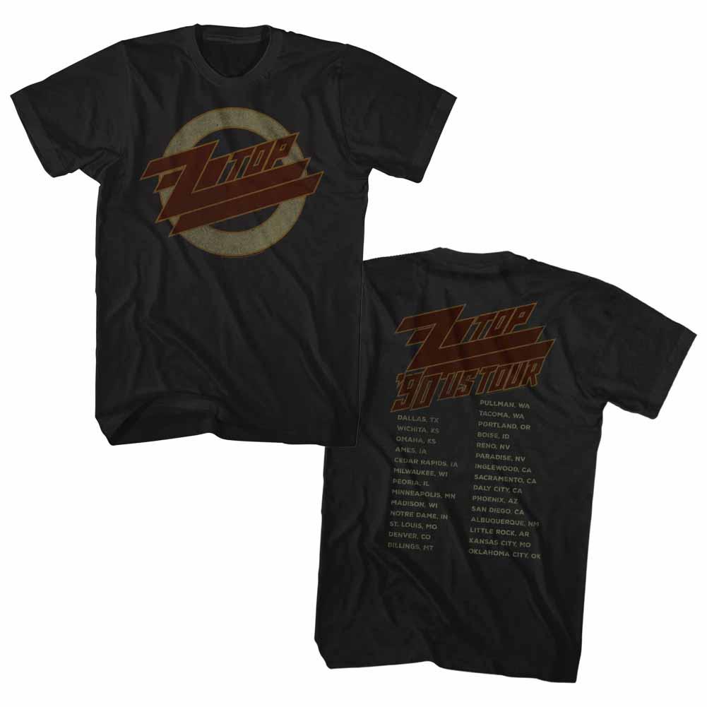 ZZ TOP 1990 U.S TOUR Sous Licence Adulte T Shirt