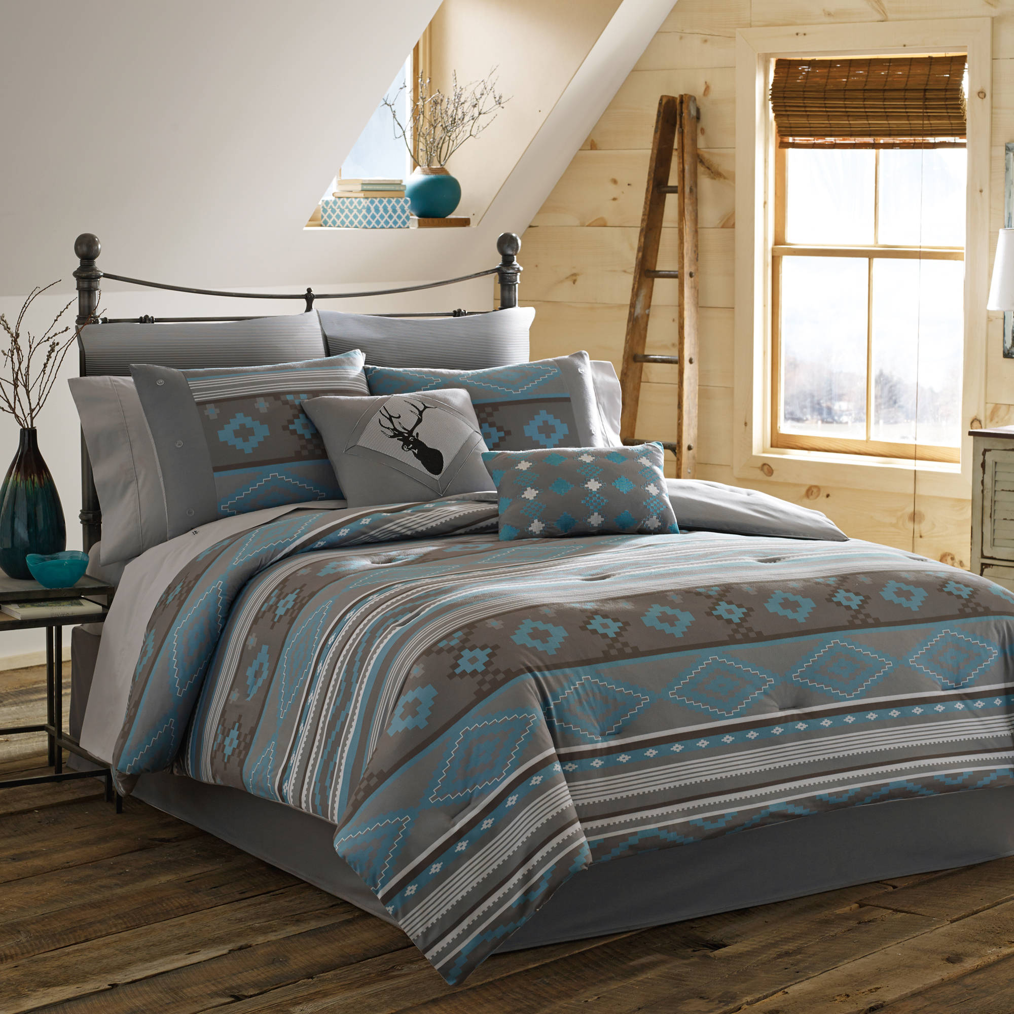 true timber southwest bedding comforter set, teal - walmart