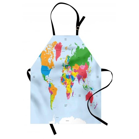 Map Apron Classical Colorful Map of World in Political Style Travel Europe America Asia Africa, Unisex Kitchen Bib Apron with Adjustable Neck for Cooking Baking Gardening, Multicolor, by Ambesonne American Standard Acrylic Apron